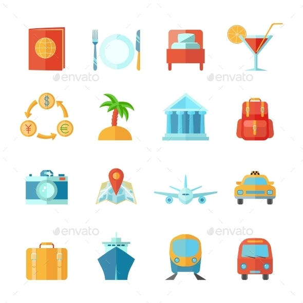 GraphicRiver Travel Icon Flat Set 10968586