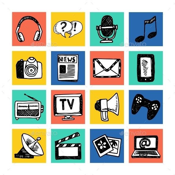 GraphicRiver Media Icons Set 10968606