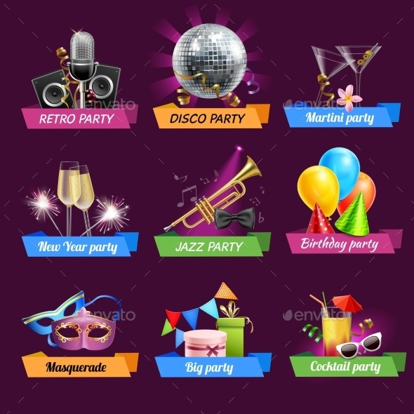 GraphicRiver Party Emblems Set 10968619