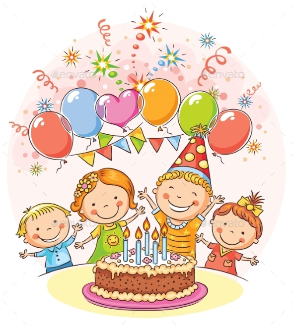 GraphicRiver Happy Kids at the Birthday Party 10968623
