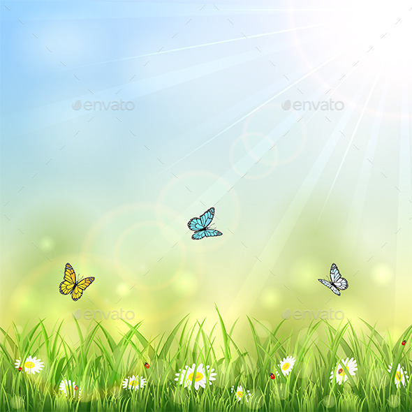 GraphicRiver Summer Background with Butterflies 10968629