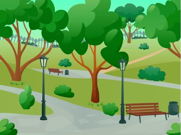 GraphicRiver Park Landscape Flat 10968635