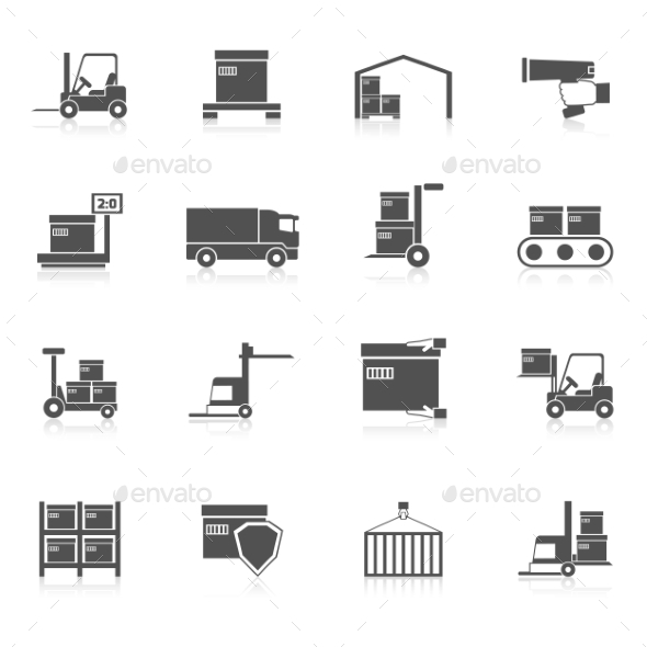 GraphicRiver Warehouse Icons Black 10968652