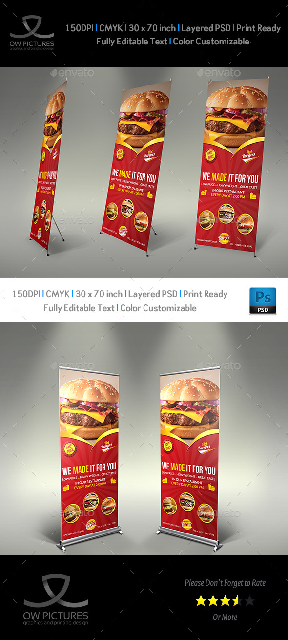 GraphicRiver Burger Restaurant Roll Up Signage Template Vol.6 10968665
