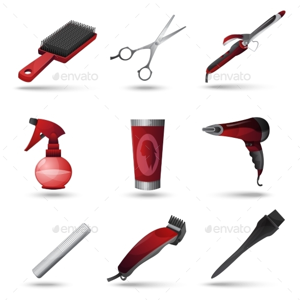 GraphicRiver Hairdresser Icons Set 10968844