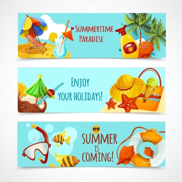 GraphicRiver Summer Holidays Banners 10968897