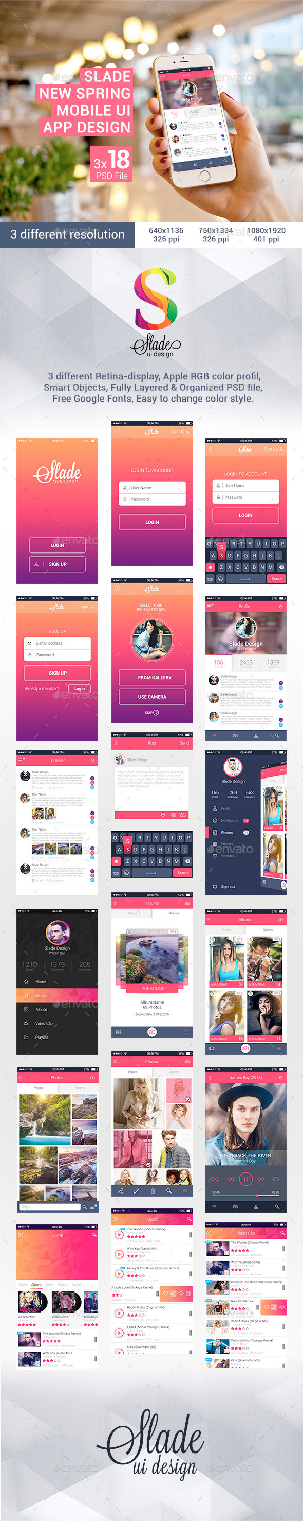 GraphicRiver Slade New Spring Mobile UI App Design 10968945