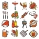 Bbq Grill Colored Icons Set - GraphicRiver Item for Sale