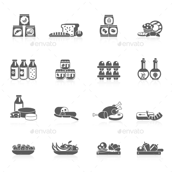 GraphicRiver Supermarket Icons Black 10968973