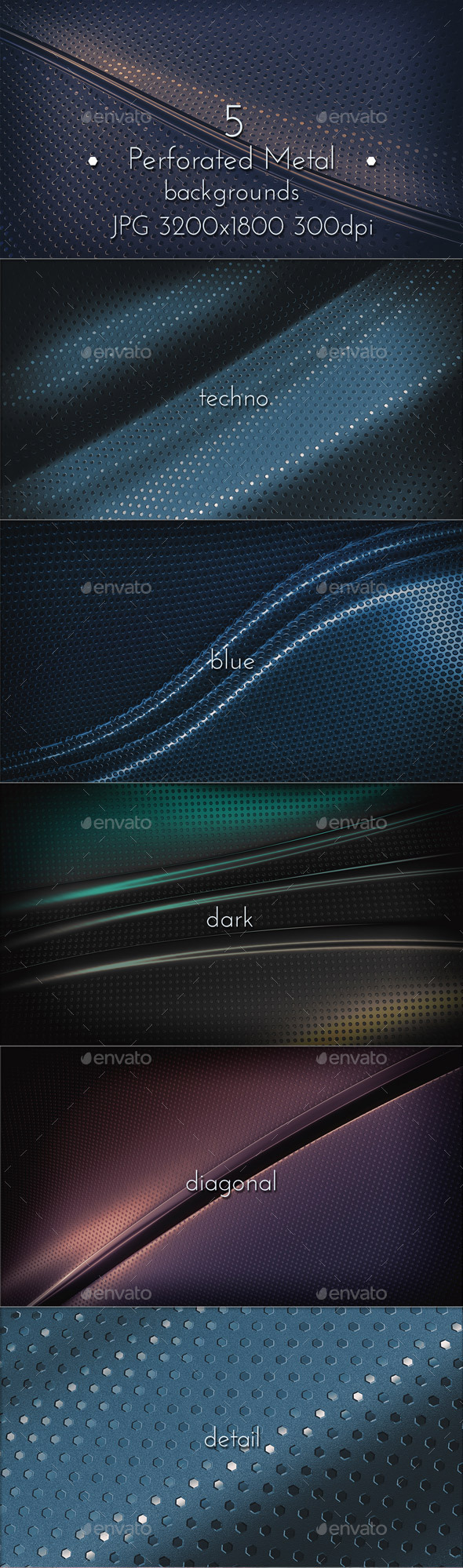GraphicRiver Perforated Metal Backgrounds 10968976