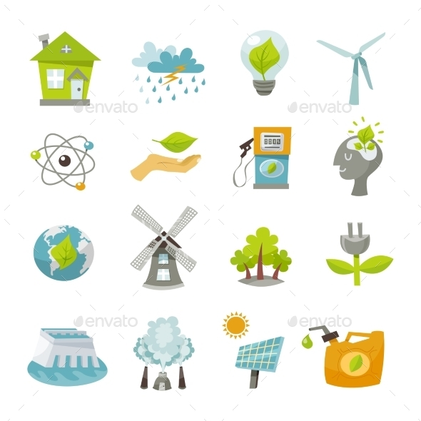 GraphicRiver Eco Energy Icons Flat 10969047