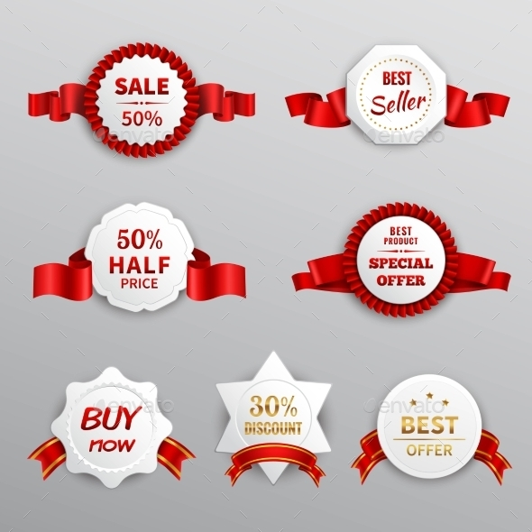 GraphicRiver Red Paper Sale Labels 10969109