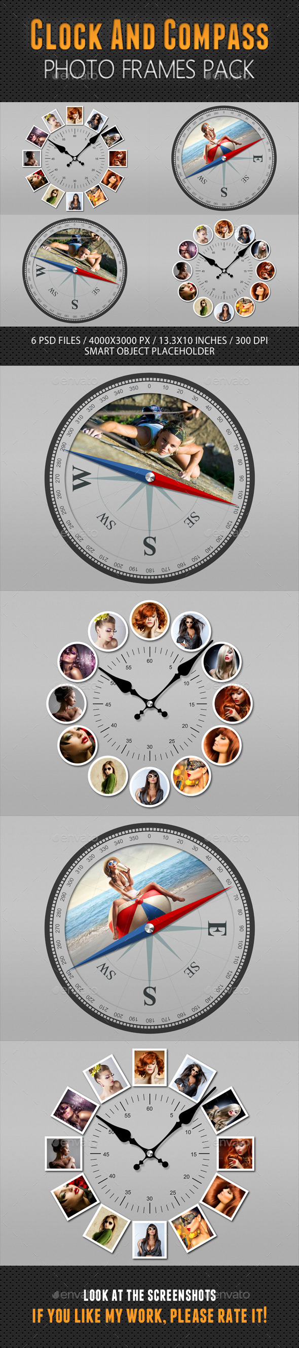 GraphicRiver Clock And Compass Photo Frames Pack 10969171