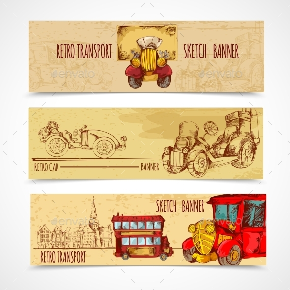GraphicRiver Vintage Transport Banners 10969377