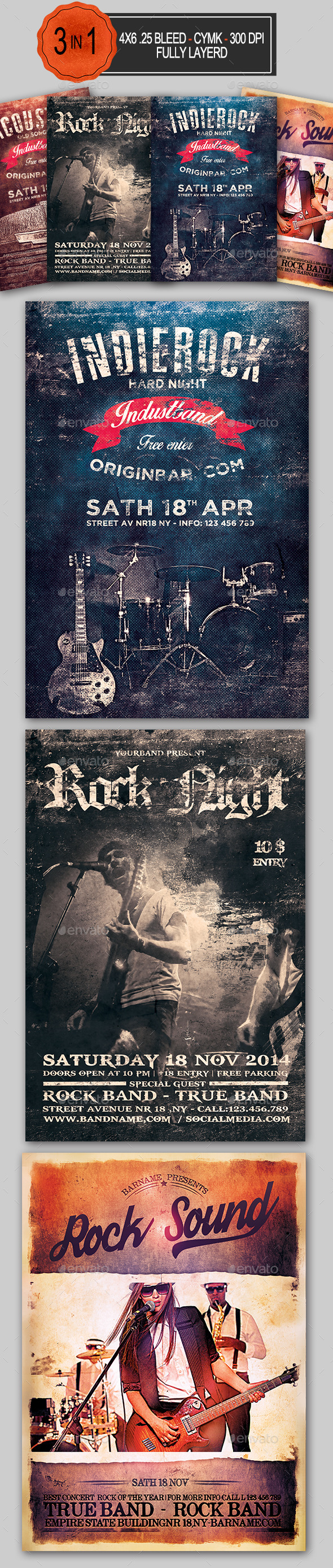 GraphicRiver 3in1 Rock Flyer Bundle 10969668
