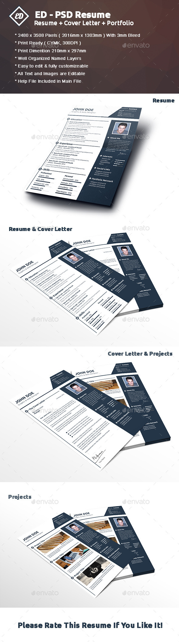 GraphicRiver ED PSD Resume Template 10893057