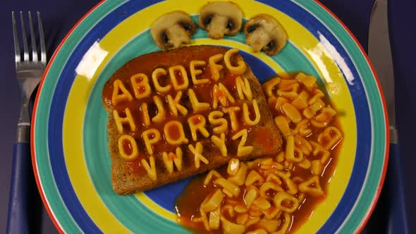 Alphabet Stop Motion Animation With Spaghetti Letters On Toast 4