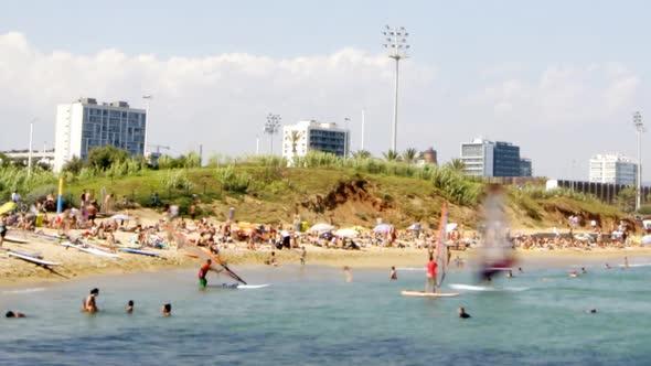 View Of The Beach In Barcenoleta Barcelona Spain 2