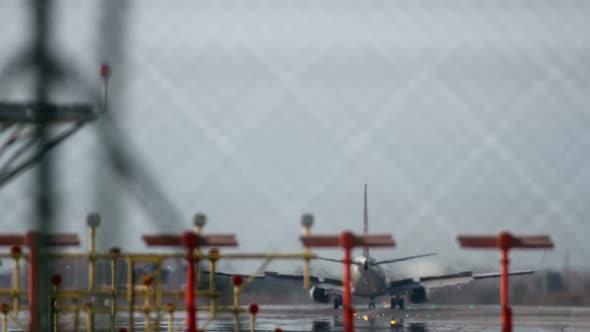Plane Landing Zoom Telephoto Barcelona Airport 6