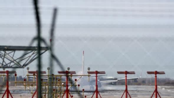 Plane Landing Zoom Telephoto Barcelona Airport 7