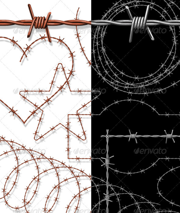 GraphicRiver Barbed Wire Pattern Brushes With Ready-Made Assets 1099571