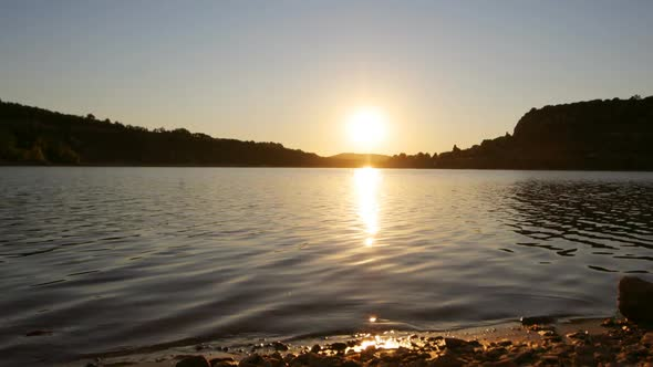 Timelapse Of Sun Setting Over A Lake In France 5