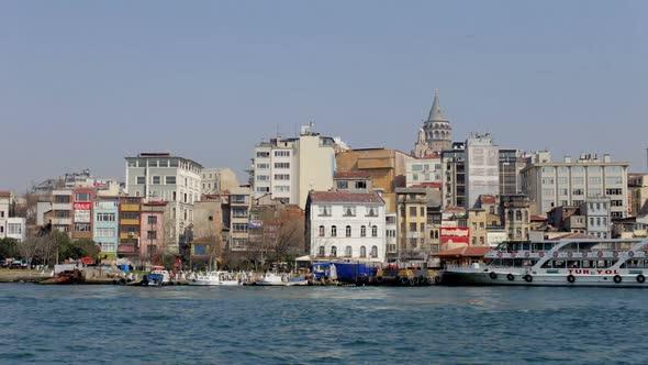 Istanbul Skyline Galata Bosphorus Boats Turkey 3