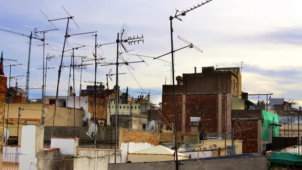 Abstract Pattern Of Tv Aerials And Satellites On Rooftops 3