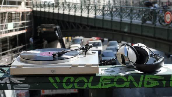 Turntable Spinning On Bridge In Marseille