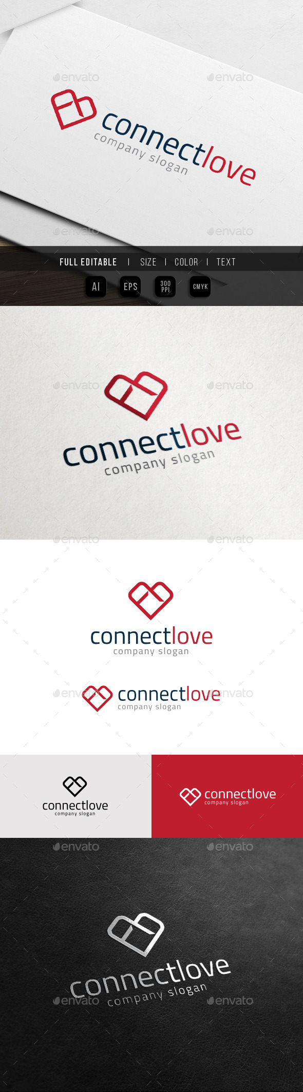 GraphicRiver Connect Heart Relationship Gift Love Logo 10972392