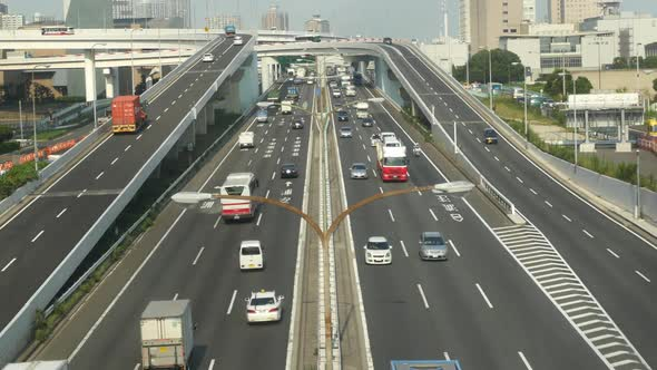 Busy Truck Traffic On Japanese Highway Tokyo Japan 6