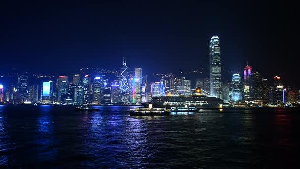 Victoria Harbour Hong Kong Skyline At Night Hong Kong China 3