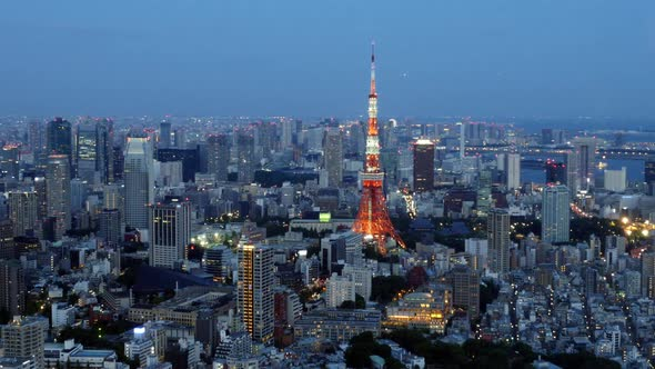 Tokyo Skyline With Tokyo Tower At Night 1