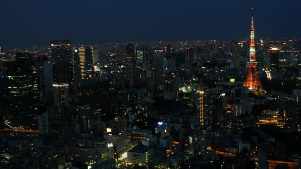 Tokyo Skyline With Tokyo Tower At Night 3