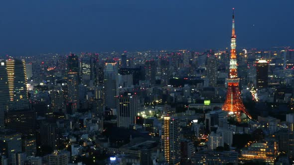 Tokyo Skyline With Tokyo Tower At Night 4