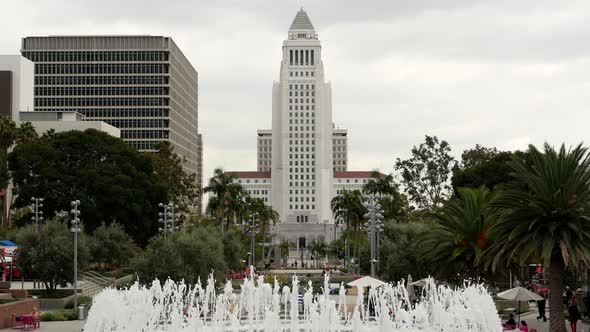 Los Angeles City Hall And Fountain Los Angeles California 2