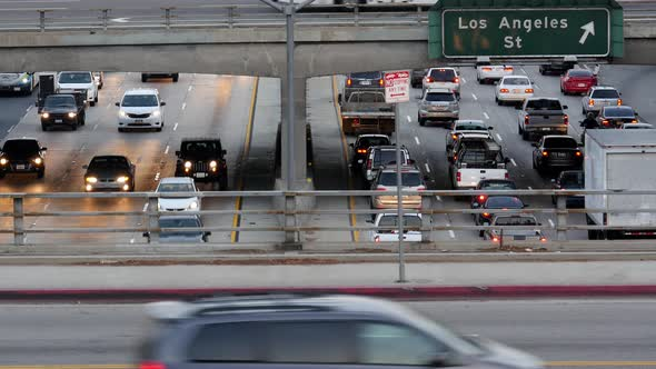 Traffic On Busy Freeway In Downtown Los Angeles California 15