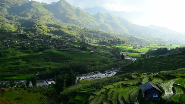 Clouds And Shadows Passing Over A Valley Of Rice Terraces In Sapa Vietnam 4