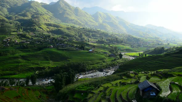 Clouds And Shadows Passing Over A Valley Of Rice Terraces In Sapa Vietnam 5