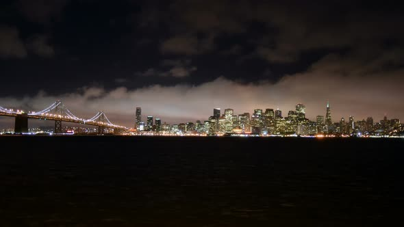 The Foggy San Francisco Skyline At Night 2