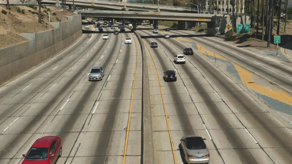 Traffic On Busy 10 Freeway In Downtown Los Angeles California 12