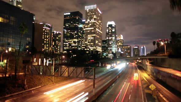 Traffic In Downtown Los Angeles At Night 6