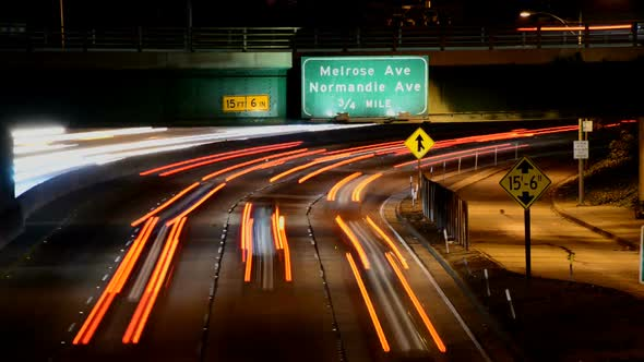 Traffic In Downtown Los Angeles At Night 7
