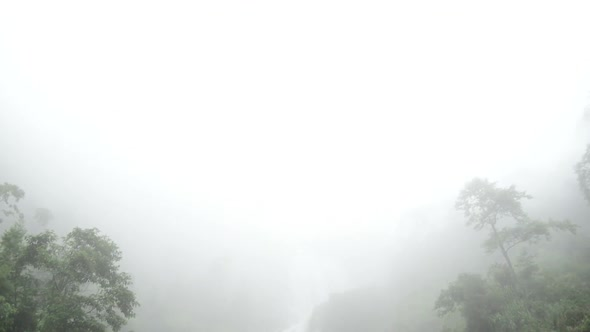 Raging Waterfall To Fog During Rainstorm Sapa Vietnam