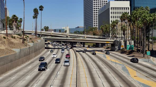 Traffic On Busy 10 Freeway In Downtown Los Angeles California 8
