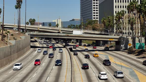 Traffic On Busy 10 Freeway In Downtown Los Angeles California 9