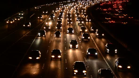 Evening Rush Hour Traffic On Busy Freeway In Los Angeles 6