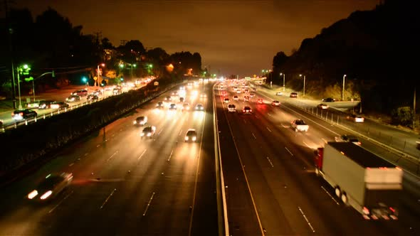 Rush Hour Traffic On Busy Los Angeles Freeway 1