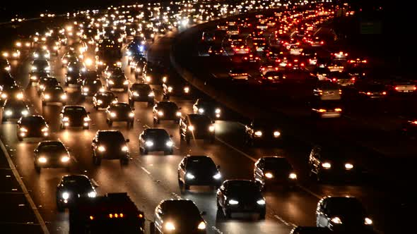 Evening Rush Hour Traffic On Busy Freeway In Los Angeles 9