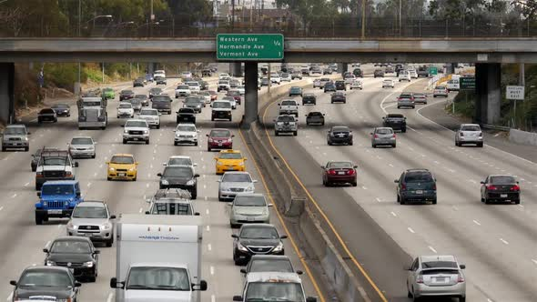 Traffic On Busy Freeway In Downtown Los Angeles California 1